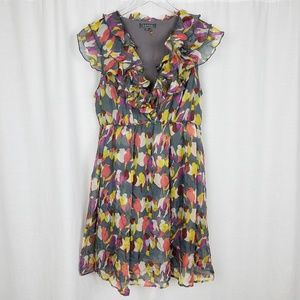 Gracia Silk Bird Print Ruffle Dress